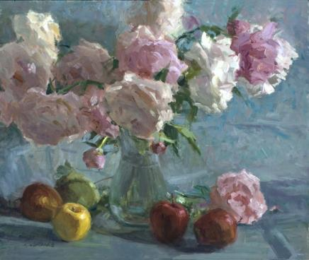 Peonies and Glass 20x24 Oil by H Friedland.jpg